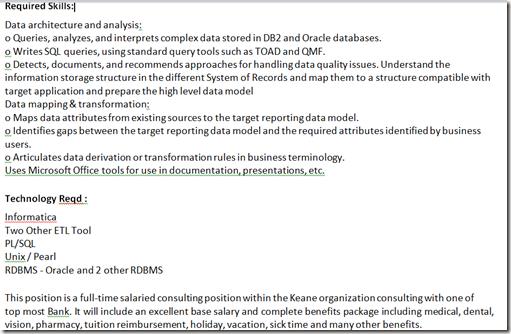 data analyst job description samples