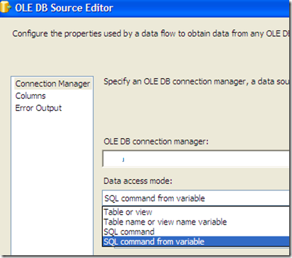 SSIS #107 – Parameterized Query in OLE DB Data Source: parameter information cannot be derived from SQL statements with sub-select queries (4/6)