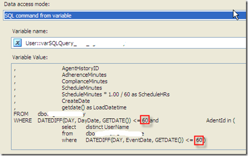 SSIS #107 – Parameterized Query in OLE DB Data Source: parameter information cannot be derived from SQL statements with sub-select queries (5/6)
